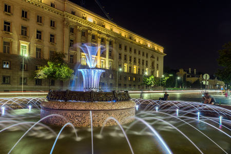 SOFIA, BULGARIA - JUNE 30, 2017: Night photo of Fountain in front of The Building of the Presidency in Sofia, Bulgaria Editorial