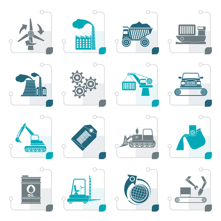 excavate: Stylized different kind of business and industry icons - vector icon set