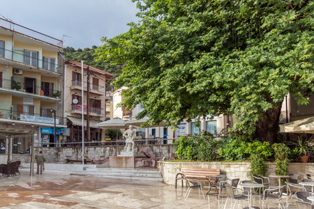 ionian: PATRAS, GREECE - MAY 28, 2015:  Typical street in Nafpaktos town, Western Greece