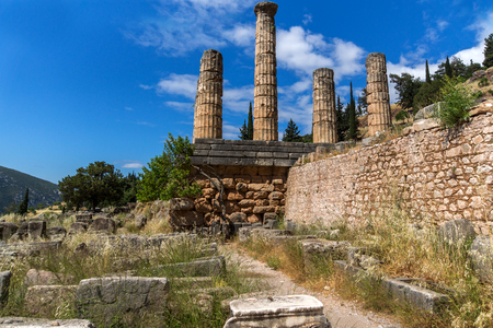 Columns in The Temple of Apollo in Ancient Greek archaeological site of Delphi, Central Greece Stock Photo