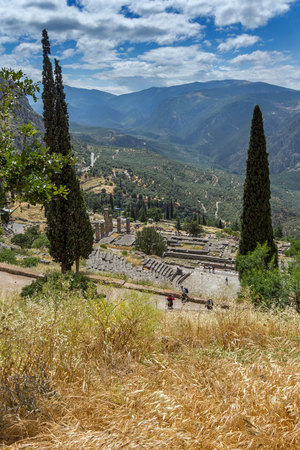 delphi: Panorama of Amphitheatre in Ancient Greek archaeological site of Delphi, Central Greece Stock Photo