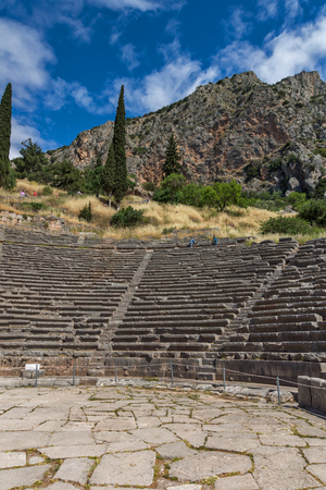 Panorama of Amphitheatre in Ancient Greek archaeological site of Delphi, Central Greece Stock Photo