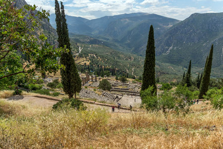 amphitheatre: Panorama of Amphitheatre in Ancient Greek archaeological site of Delphi, Central Greece Stock Photo