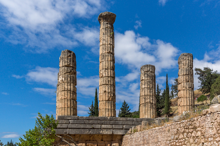 delphi: Columns in The Temple of Apollo in Ancient Greek archaeological site of Delphi, Central Greece Stock Photo