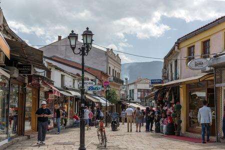 balkans: SKOPJE, REPUBLIC OF MACEDONIA - 13 MAY 2017: Typical street in old town of city of Skopje, Republic of Macedonia