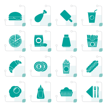mayonnaise: Stylized fast food and drink icons - vector icon set