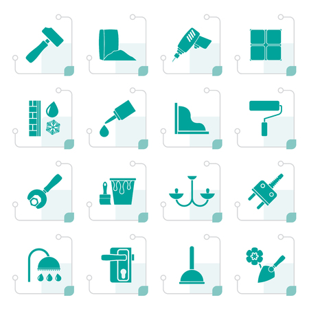 bolt: Stylized Construction and building equipment Icons - vector icon set 1 Illustration