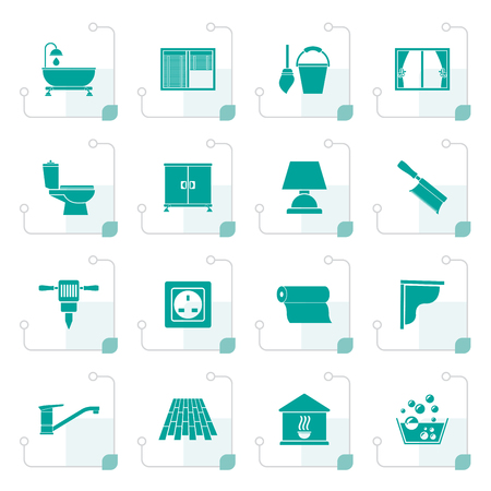 vesicle: Stylized Construction and building equipment Icons - vector icon set 2