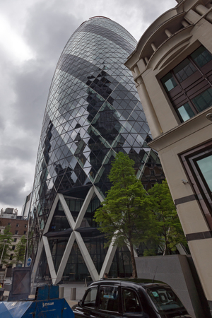 meridian: LONDON, ENGLAND - JUNE 18, 2016: Amazing view of Business Building in City of London, Great Britain Editorial