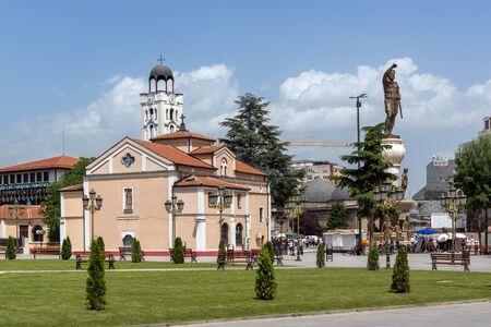 balkans: SKOPJE, REPUBLIC OF MACEDONIA - 13 MAY 2017: Orthodox Church of Church St. Demetrius and Philip II of Macedon Monument in Skopje, Republic of Macedonia Editorial