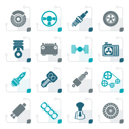 differential: Stylized Different kind of car parts icons - vector icon set