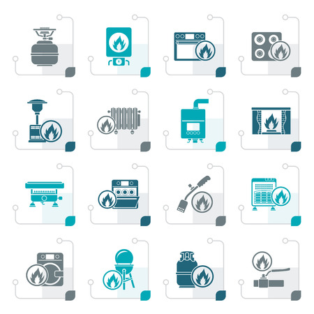 Stylized Household Gas Appliances icons - vector icon set
