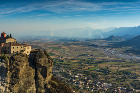 stephen: Amazing Sunset Landscape of Holy Monastery of St. Stephen in Meteora, Thessaly, Greece