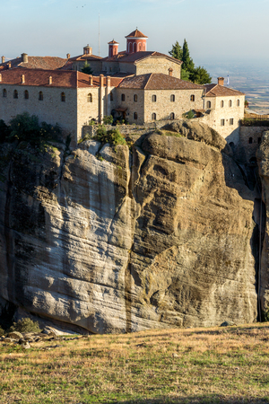 st: Amazing Sunset Landscape of Holy Monastery of St. Stephen in Meteora, Thessaly, Greece