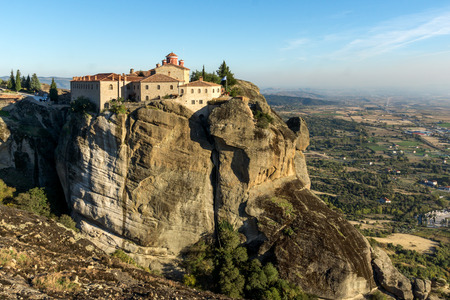 Amazing Sunset Landscape of Holy Monastery of St. Stephen in Meteora, Thessaly, Greece