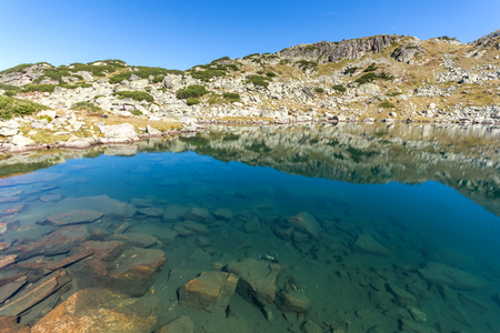 Amazing landscape of Lake with clear waters, Rila Mountain, Bulgaria