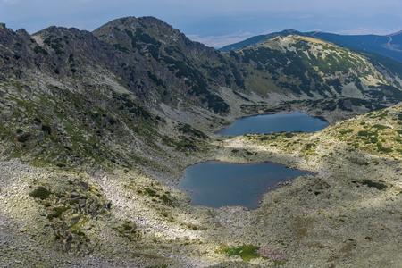 Panoramic view to Musalenski lakes from Musala Peak, Rila mountain, Bulgaria Stock Photo