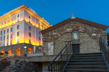 SOFIA, BULGARIA - JULY 21, 2017: Night view of St. Petka Church in Sofia, Bulgaria Editorial