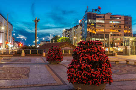 SOFIA, BULGARIA - JULY 21, 2017: Night photo of Independence Square and Hagia Sophia monument in city of Sofia, Bulgaria