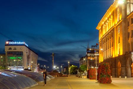 SOFIA, BULGARIA - JULY 21, 2017: Night photo of Independence Square and Hagia Sophia monument in city of Sofia, Bulgaria