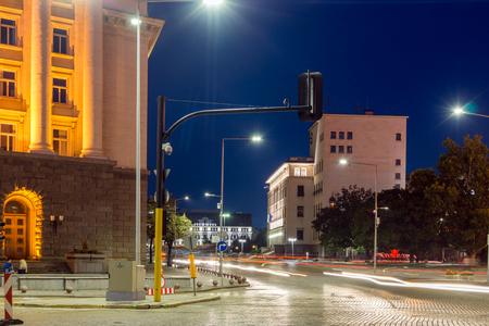 SOFIA, BULGARIA - JULY 21, 2017: Night photo of Building of Bulgarian National Bank in city of Sofia, Bulgaria