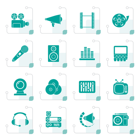 Stylized Audio and video icons - vector icon set
