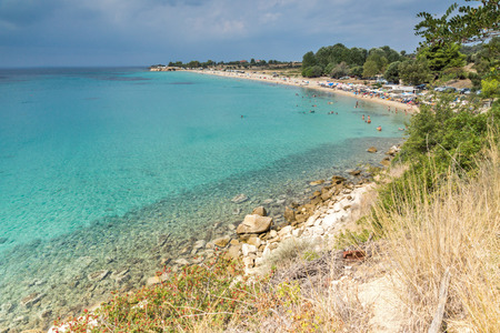 Panoramic view of Agios Ioannis Beach at Sithonia peninsula, Chalkidiki, Central Macedonia, Greece Stock Photo