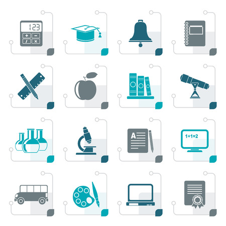 Stylized Education and school objects icons - vector icon set Illustration