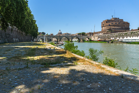 castel: ROME, ITALY - JUNE 22, 2017: Amazing view of St. Angelo Bridge,  Tiber River and castle st. Angelo in city of Rome, Italy Editorial