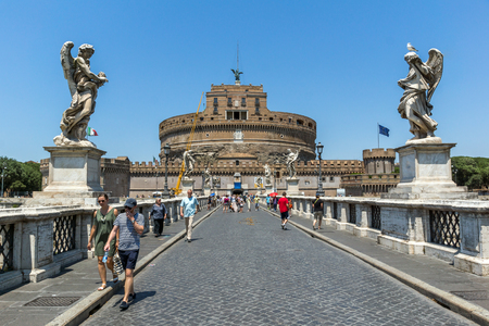 castel: ROME, ITALY - JUNE 22, 2017: Amazing view of St. Angelo Bridge and castle st. Angelo in city of Rome, Italy