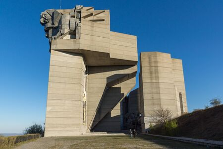 founders: SHUMEN, BULGARIA - APRIL 10, 2017:   Founders of the Bulgarian State Monument near Town of Shumen, Bulgaria Editorial