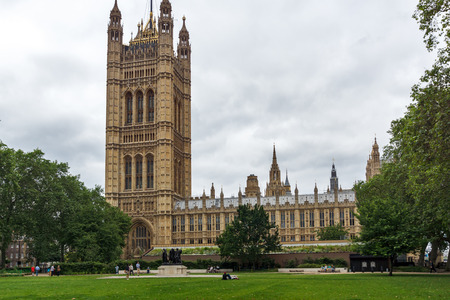 LONDON, ENGLAND - JUNE 19 2016: Victoria Tower in Houses of Parliament, Palace of Westminster,  London, England, Great Britain Redakční