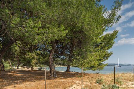 ocean waves: Panoramic view of Stiladario Beach at Sithonia peninsula, Chalkidiki, Central Macedonia, Greece