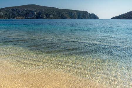 ocean waves: Panoramic view of Porto Koufo Beach at Sithonia peninsula, Chalkidiki, Central Macedonia, Greece Stock Photo