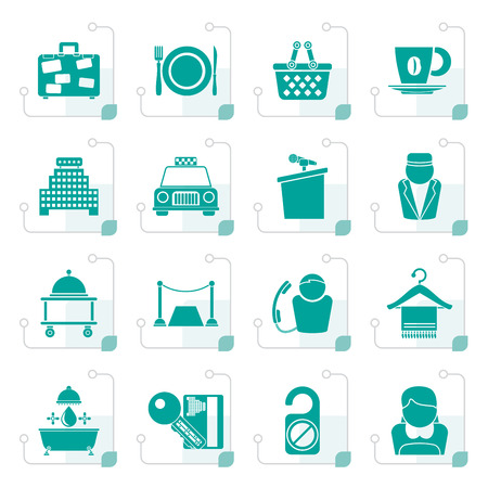 Stylized Hotel and motel services icons