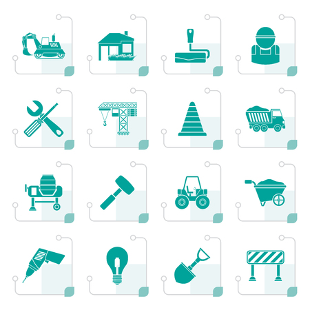 Stylized Building and construction icons Vetores