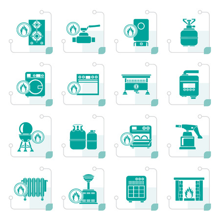 Stylized Household Gas Appliances icons