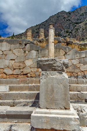Ancient Columns in Greek archaeological site of Delphi, Central Greece Stock Photo