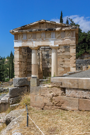 delphi: Treasury of Athens in Ancient Greek archaeological site of Delphi, Central Greece