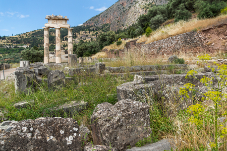 corinthian column: Amazing view of Ruins and Athena Pronaia Sanctuary at Ancient Greek archaeological site of Delphi, Central Greece