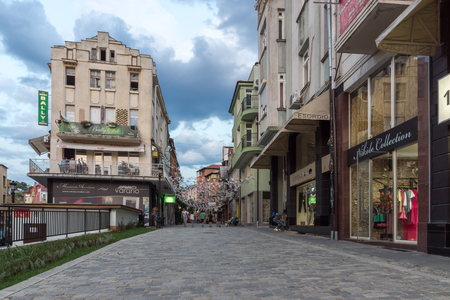 PLOVDIV, BULGARIA - AUGUST 22,  2017: Street in district Kapana, city of Plovdiv, Bulgaria