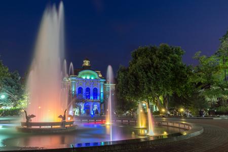 PLOVDIV, BULGARIA - AUGUST 22,  2017: Night photo of City Hall and fountain in city of Plovdiv, Bulgaria
