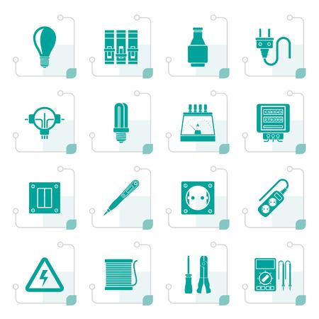 Gestileerde elektrische apparaten en apparatuur iconen - vector icon set
