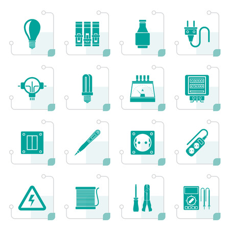 Stylized Electrical devices and equipment icons - vector icon set Vector Illustration