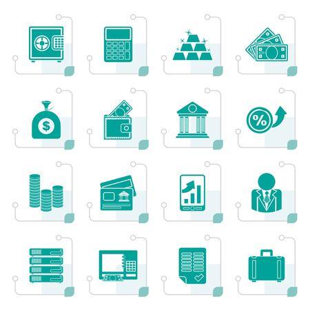 양식에 일치시키는 은행 및 금융 아이콘 - 벡터 아이콘 세트