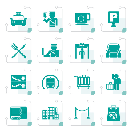 Stylized airport, travel and transportation icons -  vector icon set 1