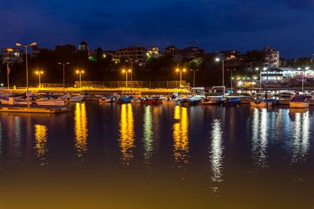 CHERNOMORETS, BULGARIA - AUGUST 14, 2017: Amazing Night seascape of port of Chernomorets, Burgas region, Bulgaria