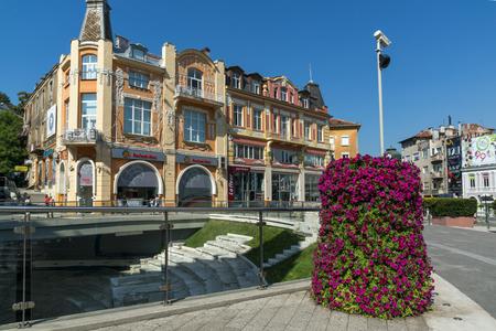 PLOVDIV, BULGARIA - SEPTEMBER 1, 2017:  Panorama of central street Knyaz Alexander I in city of Plovdiv, Bulgaria