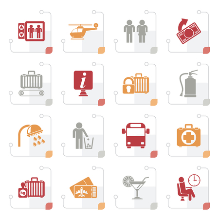 man drinking water: Stylized Airport, travel and transportation icons -  vector icon set 2 Illustration