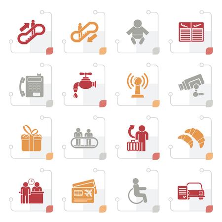 Icônes stylisées aéroport, voyage et transport - icon set vector 3 Banque d'images - 86182291